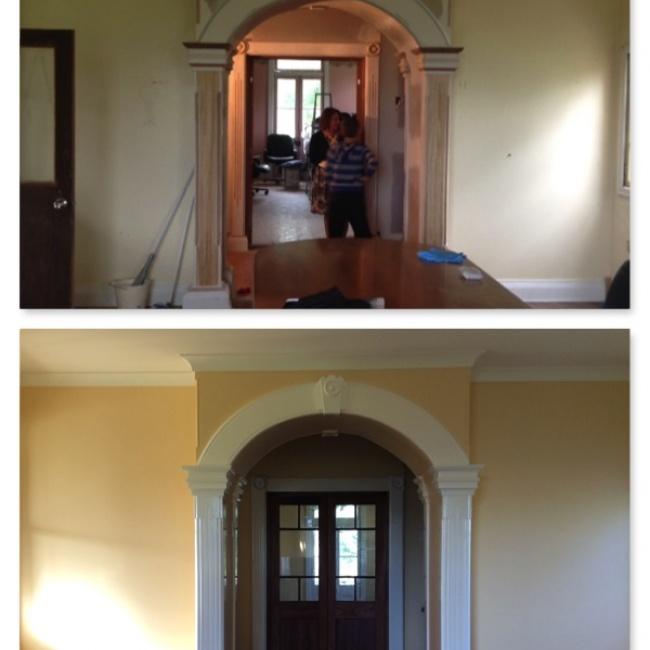 Bare plaster walls or previouly painted walls restored.